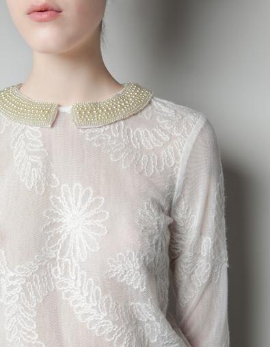 blusa bordado collar zara