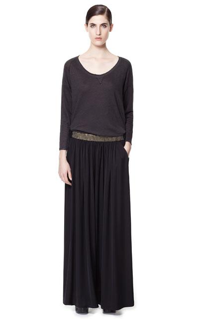falda larga abalorios cintura Zara.es