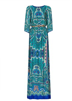 vestido largo mango paisley