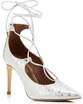 pella-metallic-snake-embossed-pointed-toe-lace-up-pumps-silver